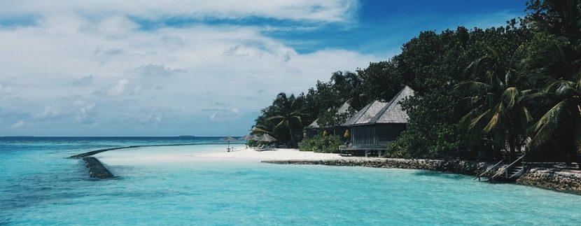 Beach, Clouds, Coast, Cottages, Horizon, Island, Ocean
