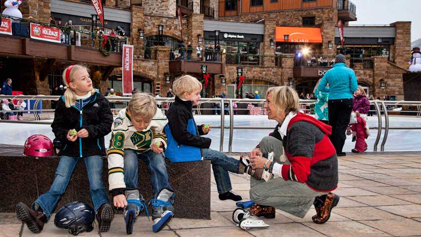 family ice skating at timberline Vail